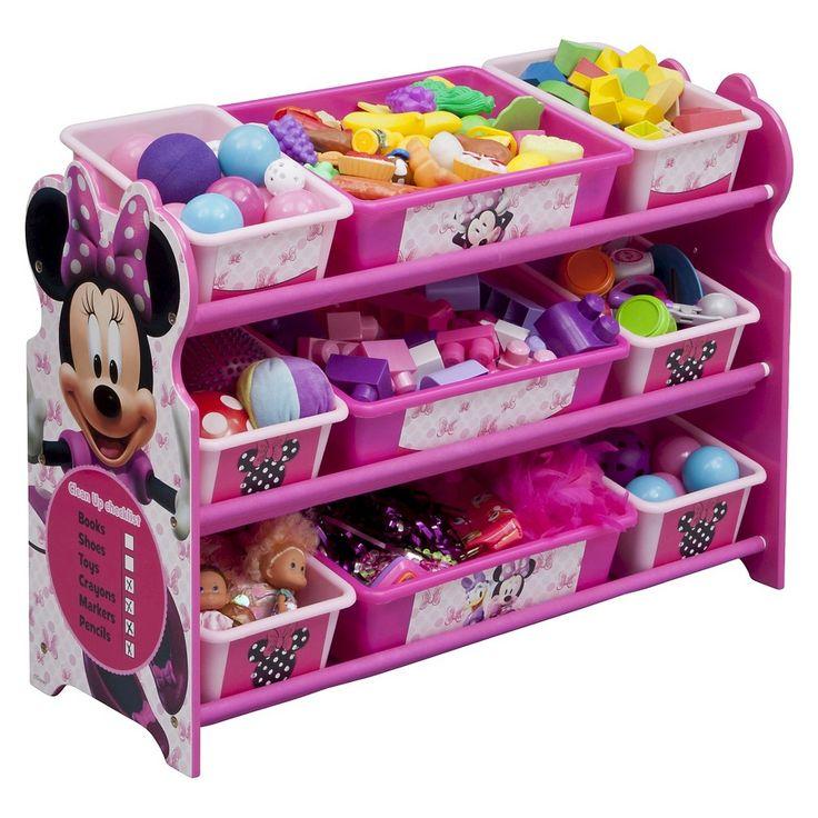 9 Bin Plastic Toy Organizer Disney Minnie Mouse Delta