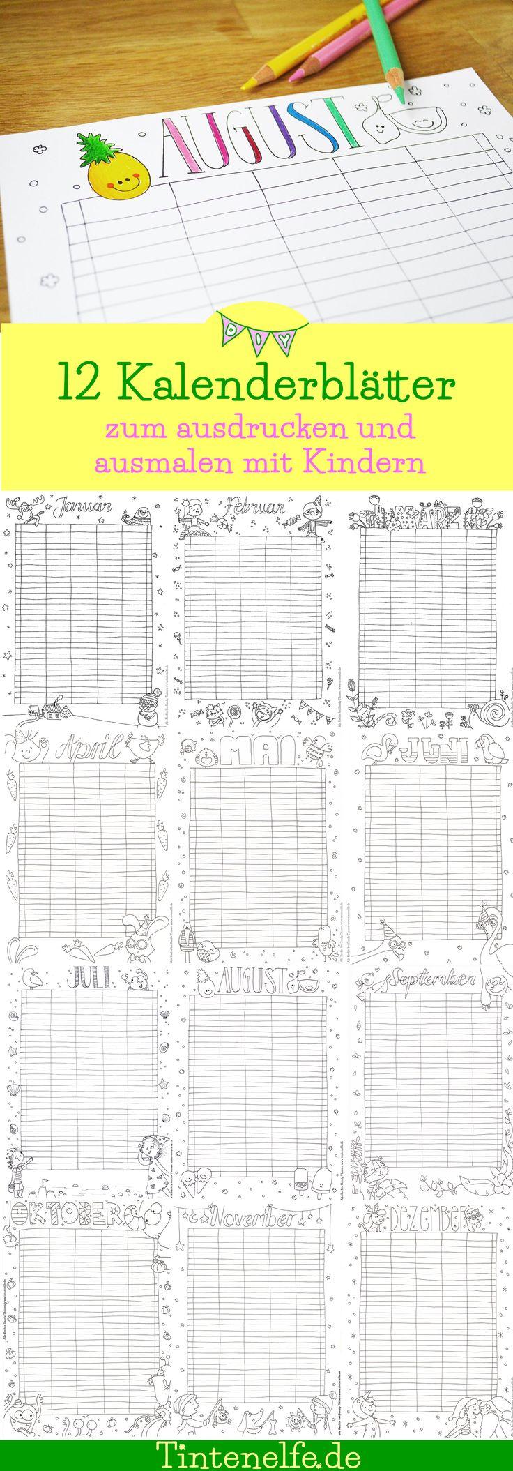 12 Kalenderblätter zum ausdrucken und ausmalen. Für Erwachsene und Kinder. Jeder Monat ist zum selber eintragen, sodass die Kalenderblätter unabhängig vom Jahr sind. Ein Kalender der also zu jeder Zeit ausdruckbar ist. Kostenlos runterladen und drauf los malen auf dem Blog Tintenelfe.de