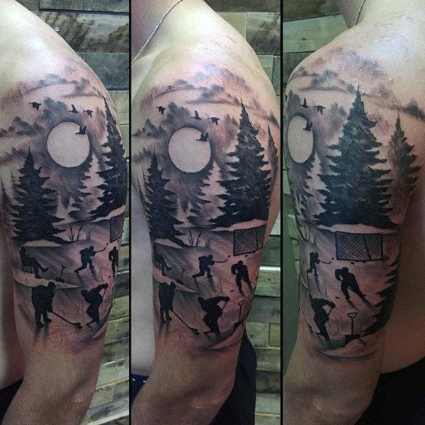 Half Sleeve Mens Hockey Scene Tattoo Design Half Sleeve Tattoos Designs Half Sleeve Tattoo Full Sleeve Tattoos