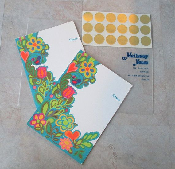 Set of Vintage Mailaway Notes Cards, Original Plastic Pkg, Unused Mailaway Notes, Blank cards, Dead Stock, 1970s Made in USA Free Shipping