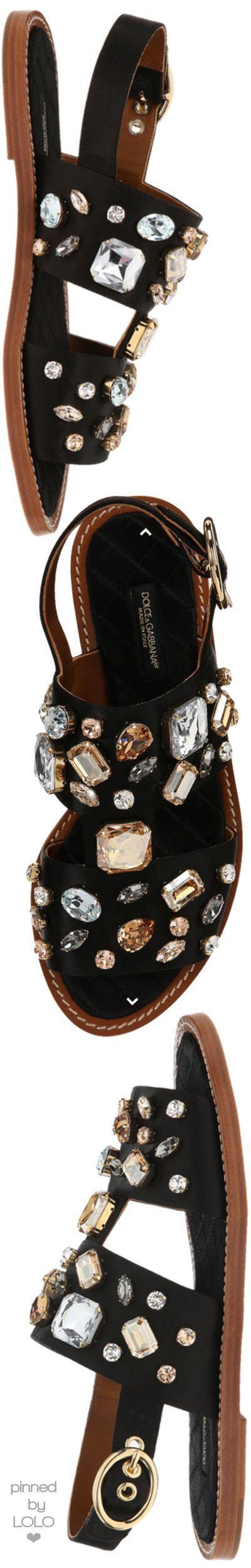 Dolce & Gabbana Black Embellished Satin Sandals | LOLO❤︎: