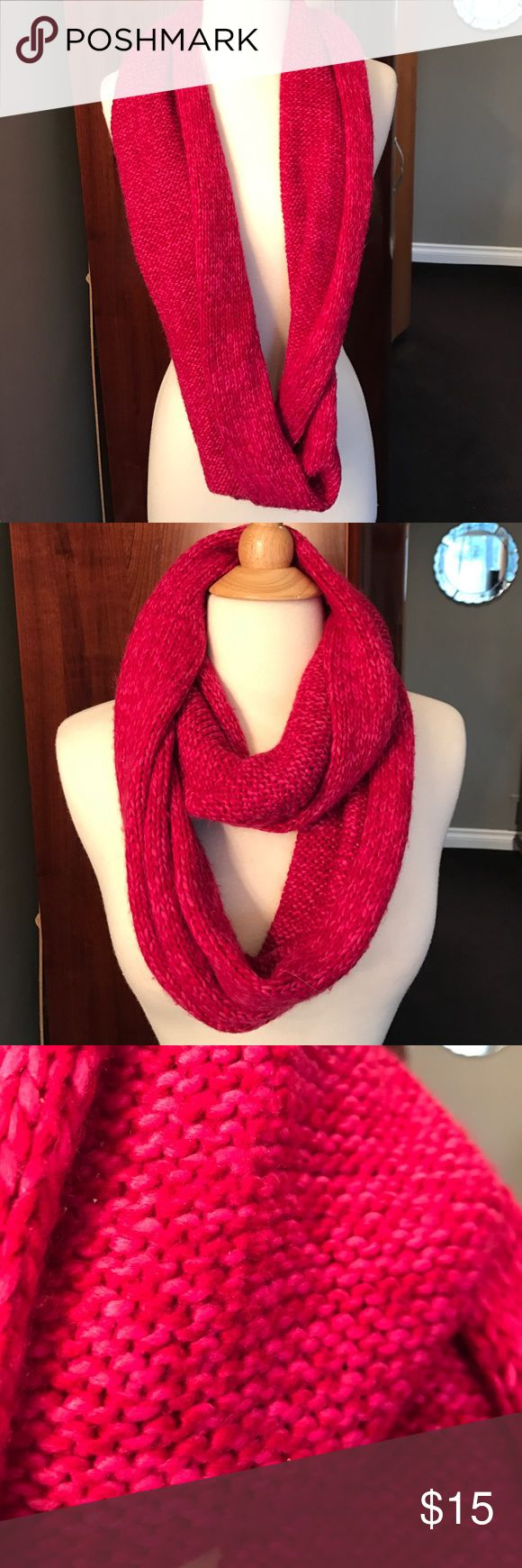 Knit Fuschia Circle Scarf NWOT Fuchsia Circle Scarf. Can be worn several ways.  Received as a gift and have not worn.  100% Acrylic.  🚫NO TRADES🚫 Jackets & Coats