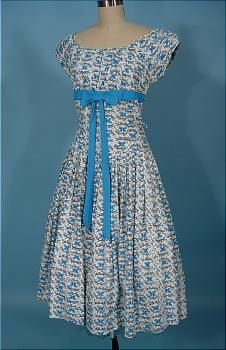 "c. late 1950's/early 1960's  ""Le Papillon "" (The Butterfly) Cotton Dress"