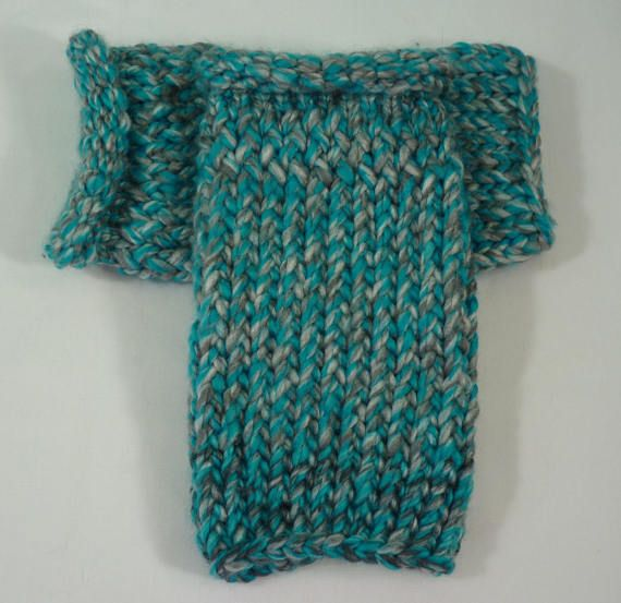 Teal and Gray Fingerless Gloves Loom Knit Gloves by JandSKnitts