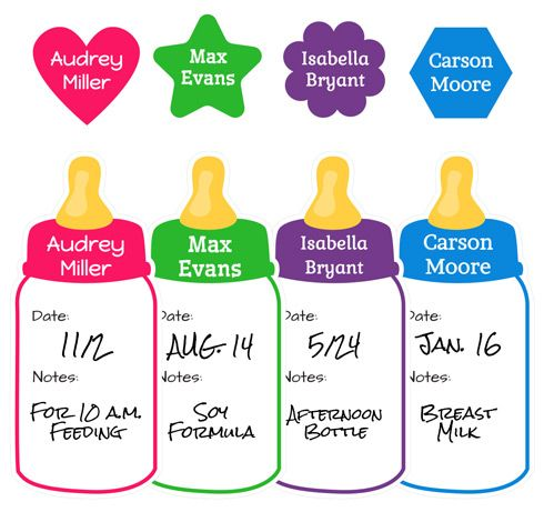 Name Bubbles Write-On Baby Bottle Labels