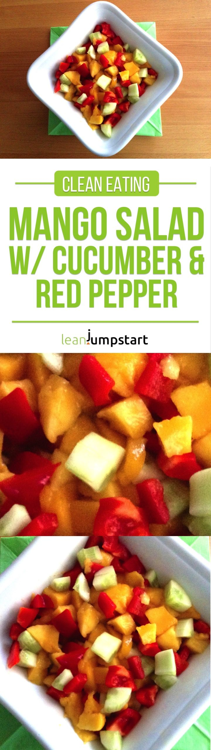 Mango Salad recipe with cucumber and red pepper: a lean clean eating salad