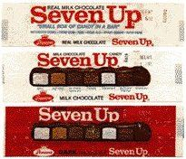 Seven Up Candy Bar - sort of like a Sky Bar there were seven fillings in one candy bar: Orange Jelly, Maple, Caramel, Brazil Nut, Fudge, Coconut, and Cherry. They discontinued it in the late 70's.