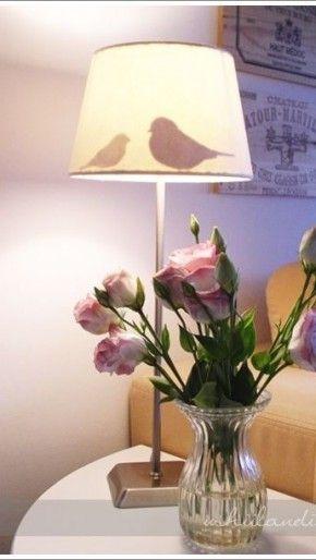 Vogelsilhouette achter lampenkap