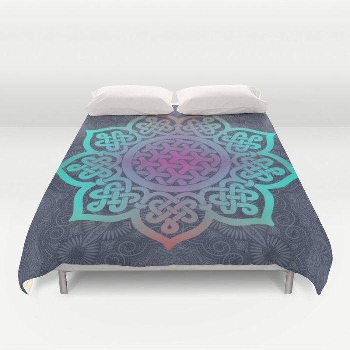 Blue Duvet Cover, Full Queen King, Mandala Duvet, Teal Bed Cover, Zen Duvet Cover, Boho Bedding, Blue Comforter, Celtic Knot, Bohemian Decor by OlaHolaHolaBaby on Etsy