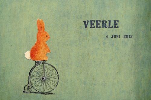 Geboortekaartje jongen of meisje - konijntje op de fiets - Pimpelpluis  https://www.facebook.com/pages/Pimpelpluis/188675421305550?ref=hl