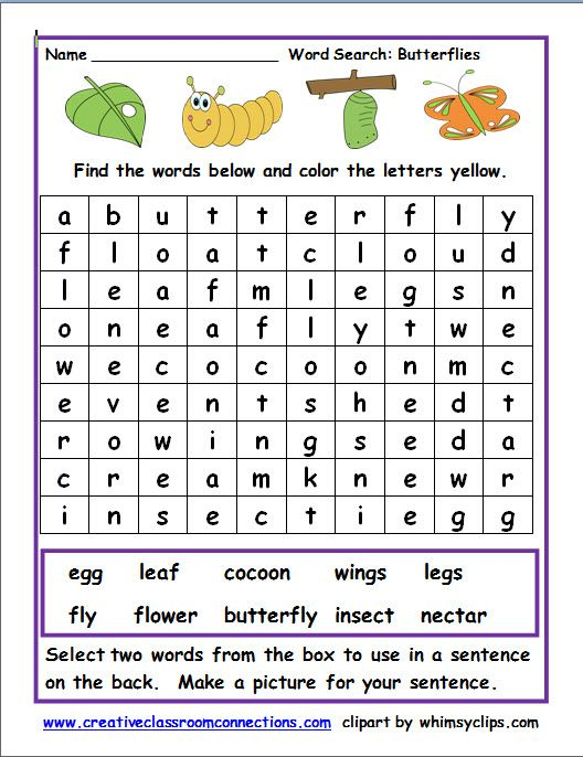 Free worksheet for a word search on butterfly words. Find ...