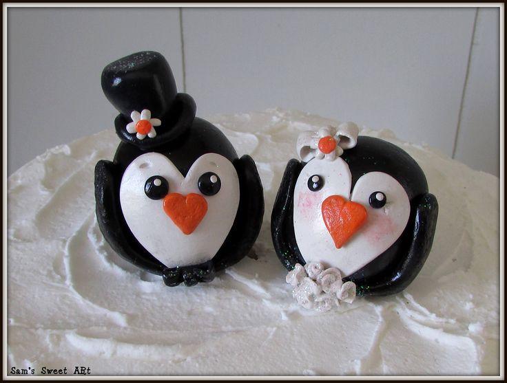 Penguin Wedding Cake Topper, Penguins Cake Topper, Penguin Wedding Decor, Penguin Wedding, Penguin Bride & Groom, Love Birds Cake Topper by SamsSweetArt on Etsy