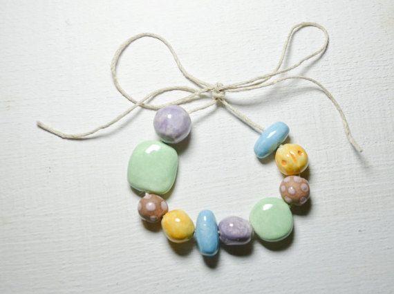10 perle di ceramica fatti a mano - Polka Dot - Chunky perline - perle di arte - fatti a mano perline di ceramica - ceramica perline - gres porcellanato - Bead Set Y074
