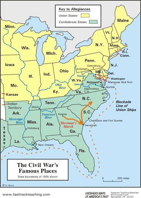 """""""North v. South"""" - The American Civil War - Map of The Civil War's Famous Places. (Note: The Mason-Dixon line is close to the MD/PA line but this map shows MD as a Union state.)"""