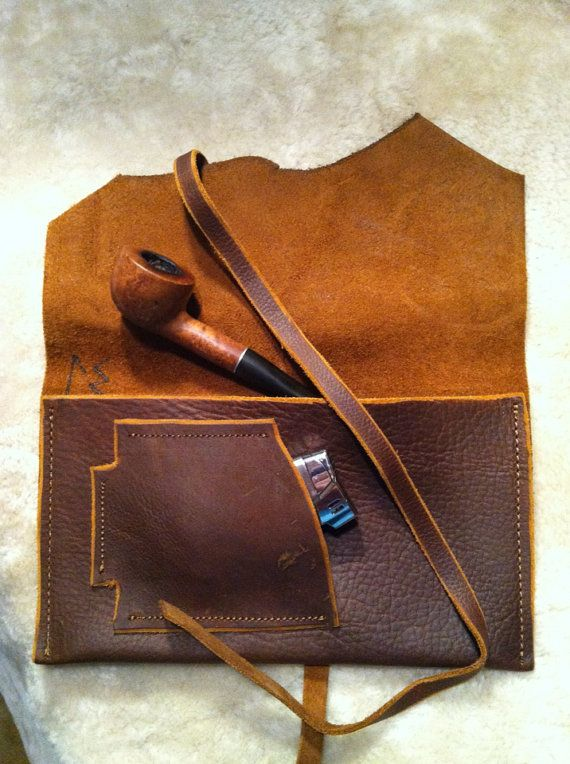 """Legendary Saxon Rugged Leather Tobacco Pouch 5"""" X 8"""" Tan Color on Etsy, $44.00"""