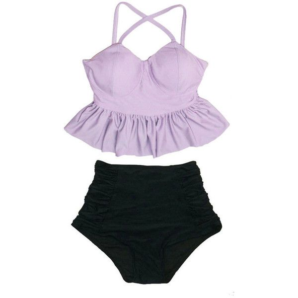 Lavender Violet Long Peplum Top and Black Ruched High Waist Waisted... ($40) ❤ liked on Polyvore featuring swimwear, bikinis, swim, silver, women's clothing, swimming costume, ruched swimsuit, peplum bathing suit, high waisted bikini and high waisted swim suit