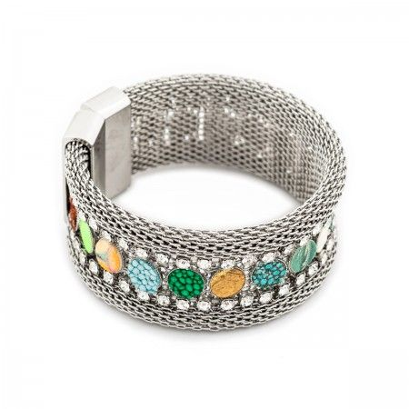 Bracelet Thin wristband with a double row of glitter rhinestones and rods.