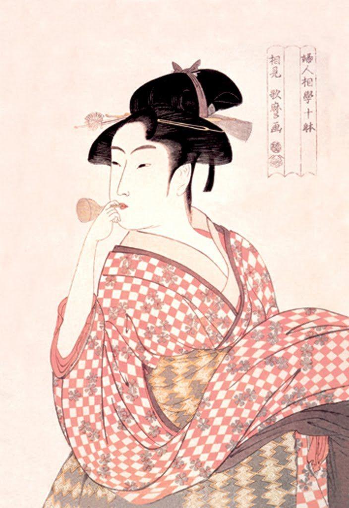 Woman Playing a Poppin, by Utamaro