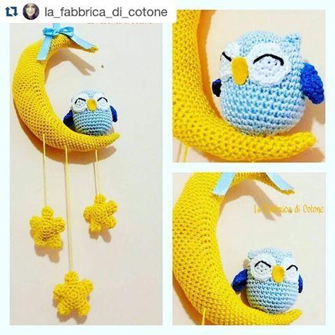 #Repost @la_fabbrica_di_cotone with @repostapp  ・・・  #owls #gufi #moon #luna #stars #stelle #crocheting #crochetaddict #crochet #amigurumiaddict #amigurumilove #amigurumi #artigianatocreativo #artigianato #handmade #handmadewithlove #uncinettochepassione #uncinettomania #uncinetto #creative #creazioni #creativemamy #artisanland #instadaily #instalove #babymobile #alittlemarketitalia