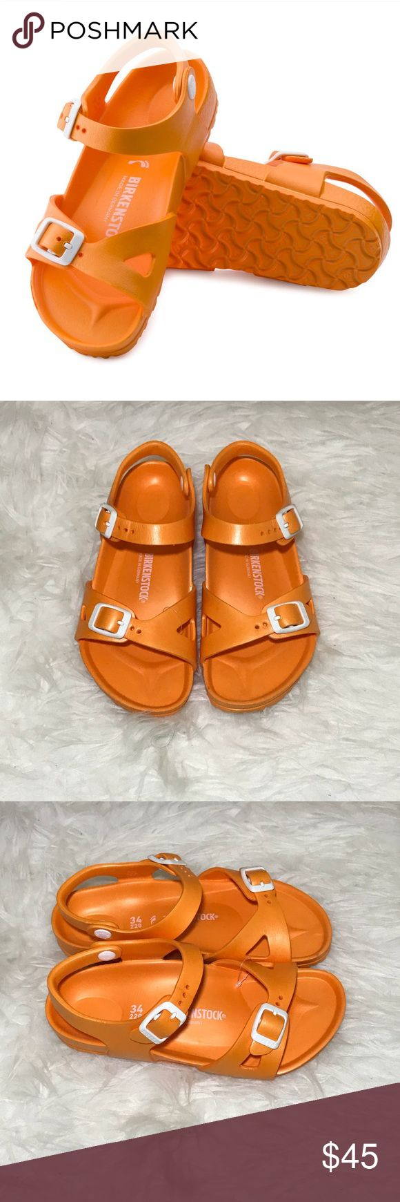 """NWOT Birkenstock Kids RIO Essential Sandals NWOT Birkenstock Kids RIO Essential Water Friendly Sandals. Size 34 (eu) or a Size 2/3 (us big kids)  Color: Neon Orange Water Friendly Material: """"EVA (ethylene vinyl acetate) is a high-quality, very light, elastic material with very good cushioning. As a result, it smooths out slight irregularities in the floor and ensures that every step is softly cushioned."""" It's NEW but my daughter took off the tag, just tried them on.  Made in Germany and…"""
