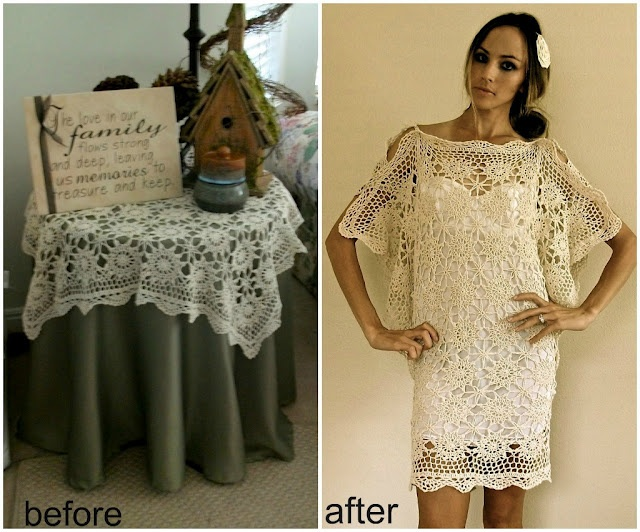 DIY: from crocheted table cloths to 1920's lovely flutter sleeve dress.