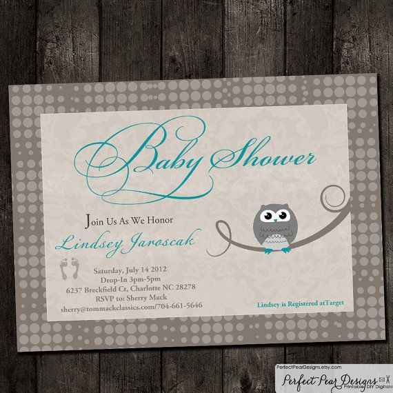 Vintage Owl Baby Shower Invitations: Baby Shower Invitation Vintage Owl Grey By