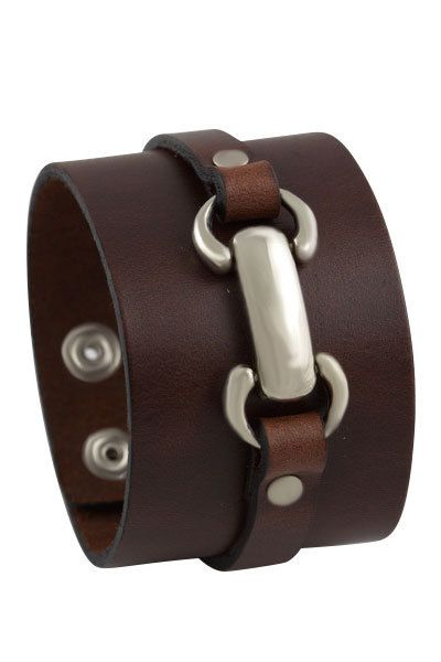 Leather Cuff Bracelet, Brown wide handmade leather bracelet adjustable leather wristband, metal & studded single strap leather cuff bracelet