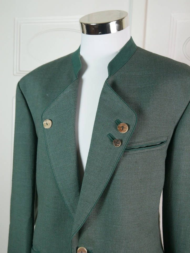 Austrian Vintage Trachten Jacket Men's, Heather Green Linen Blend Bavarian Hunting Jacket, Laudhausmode Blazer, Stag Horn Buttons: Size 42 by YouLookAmazing on Etsy