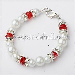 Cuentas redondas perlas de cristal pulseras para niñosBJEW-JB01429-05