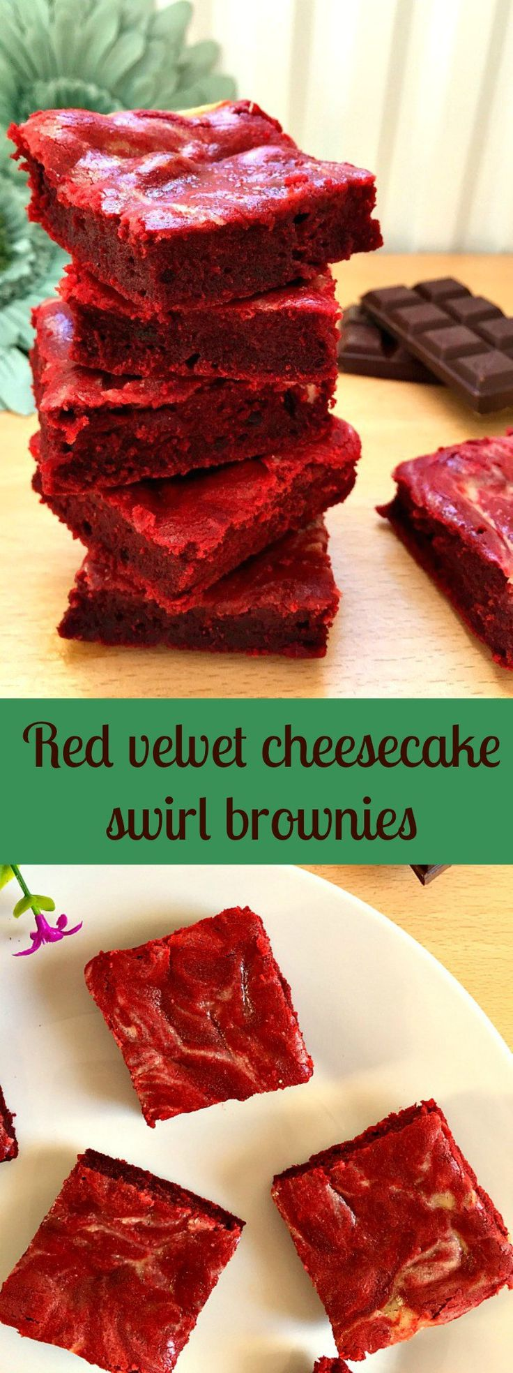 Red velvet cheesecake swirl brownies, rich and decadent, perfect for any party.