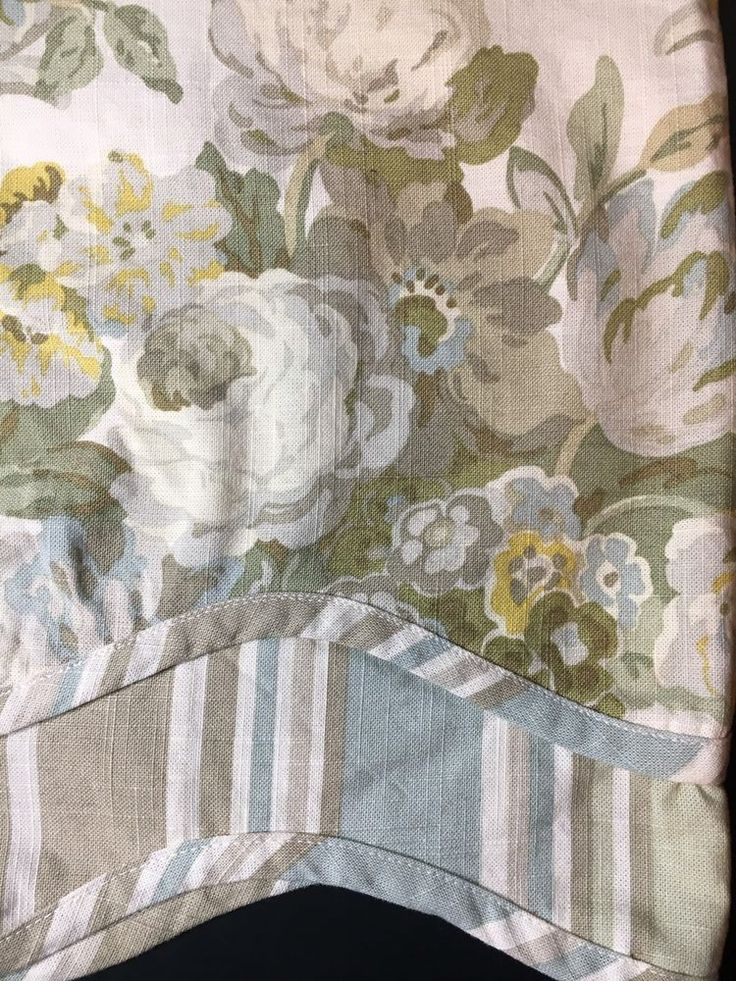 Waverly Valance Spring Bling Cream Green Blue Floral Scalloped  | eBay