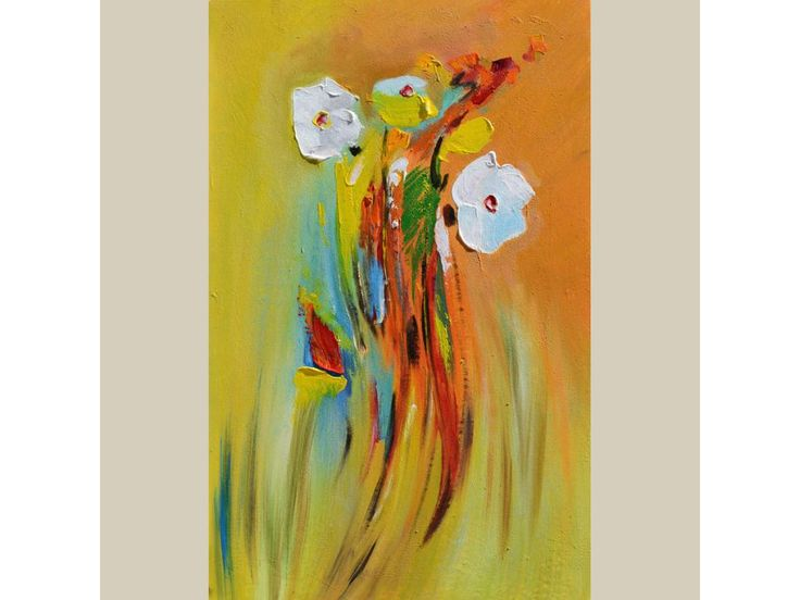ORIGINAL Oil Painting Happy 23 x 36 Palette Knife Flowers White Orange Green Red Textured Colorful Modern Contemporary ART by Marchella