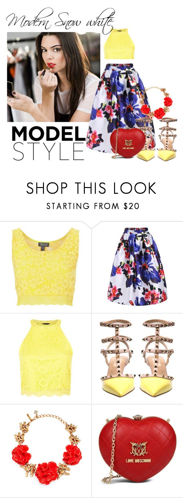 New Snow White by hacii on Polyvore featuring moda, Topshop, Valentino, Love Moschino, Oscar de la Renta, Estée Lauder, modern, disney, snowwhite and kendalljenner