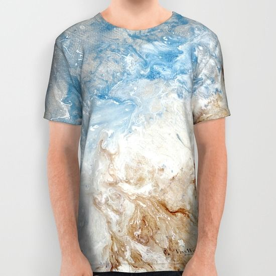 Blue and white water ripples abstract unisex T-shirts for men and women by Vinn Wong | Full collection vinnwong.com | International Shipping | Visit the shop or Pin it For Later!