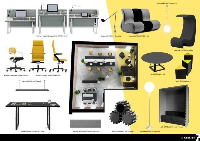 Projekt wnętrz: Vitra, Vank, Caimi, Balma, Artemide i Fagerhult. Projekt Urszula Tutaj. http://t3inwest.pl/agencja-reklamowa-w-katowicach-gdy-liczy-kreatywnosc