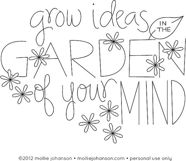 Grow Ideas in the Garden of Your Mind ...love this Mr. Rogers quote: Patterns Stencils Printables, Embroidery Patterns Gardens, Mind Embroidery, Roger Quotes, Quotes Repin, Wild Olives, Embroidery Projects, Quotes Sayings Words Lett, Growing Ideas