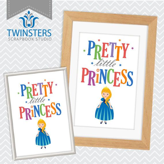 "Pretty Little Princess - printable blue kids room wall decor 8x10"", 5x7"" ? wordart TW122 INSTANT DOWNLOAD"