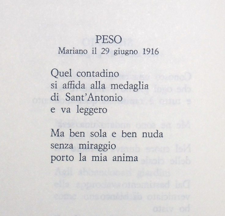 "Giuseppe Ungaretti, ""Peso"""