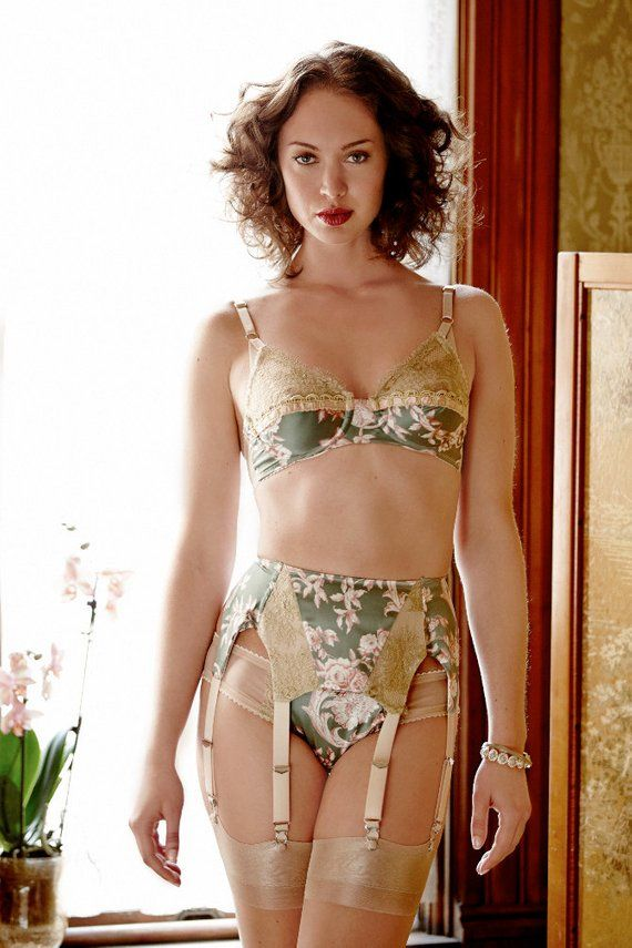 ea460095378 Florodora Girl Garter Belt silk vintage print w  luxury gold lace ...