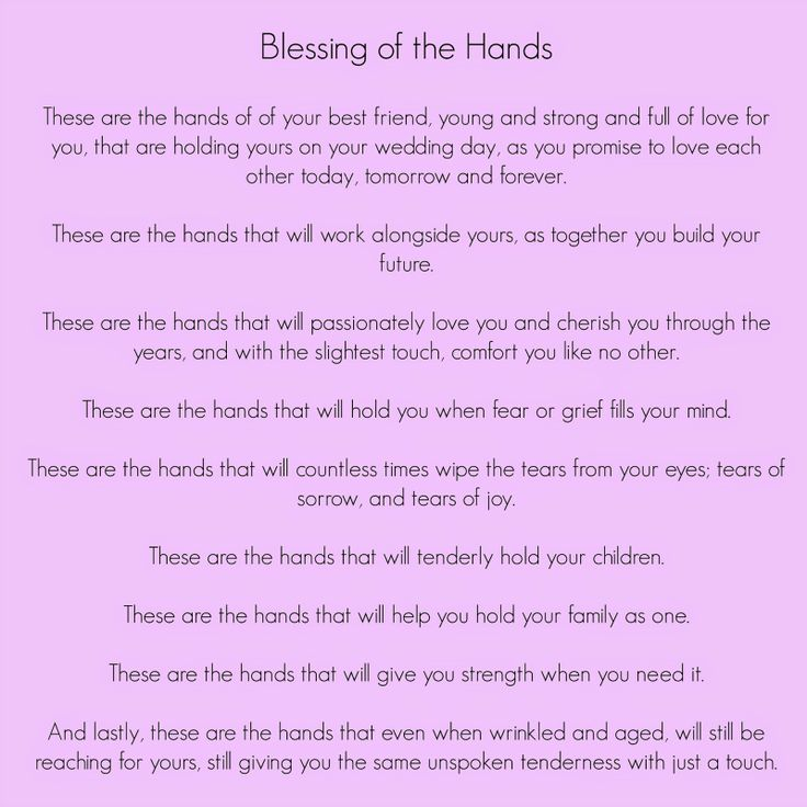Blessing Of The Hands; Wedding Readings