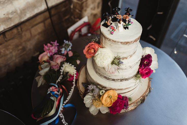 Naked Cake Lego Mariachi Band Colour Flowers May Wedding Flowers by The London Flower House Cake by Jens Cakery Photo by Greg Coltman Wedding Photography