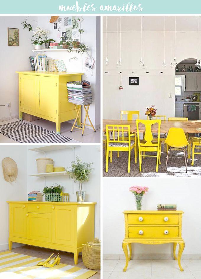 Pon un toque amarillo para alegrar la casa. A través de una cómoda, las sillas, un espejo o un jarroncito de mimosas. Aportará luz y mucha energía al hogar.