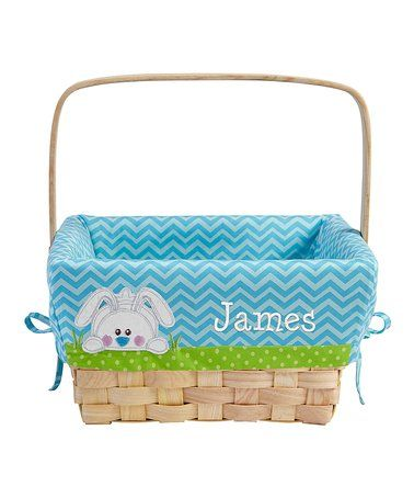 Look at this #zulilyfind! Blue Bunny Appliqué Personalized Easter Basket by Personal Creations #zulilyfinds