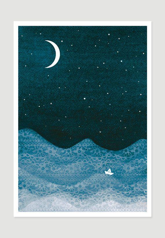 Schlafzimmer-Kunst Malerei Aquarell Giclee Drucken Segelboot nautische blaugrün Aquarell Schlafzimmer Wand Dekor Mond Sterne Kindergarten Illustration von VApinx