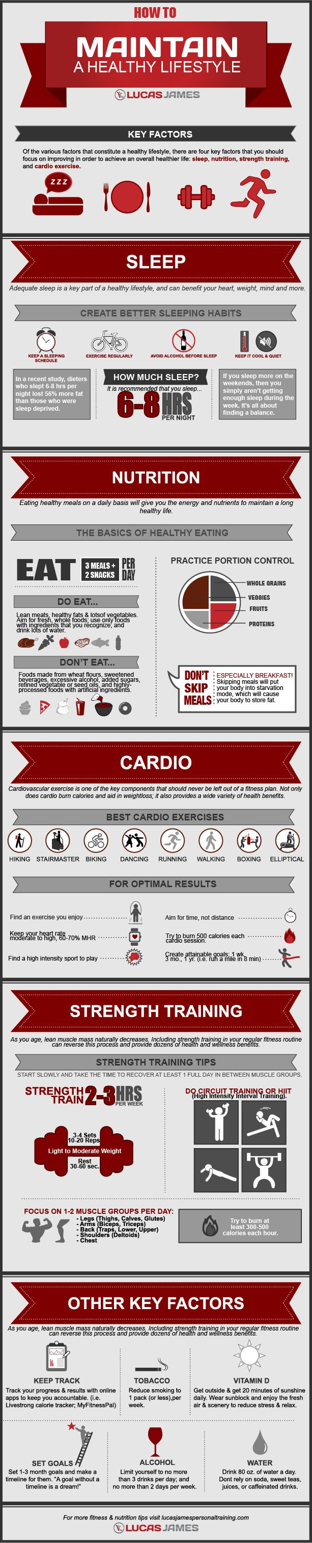This fitness infographic will help you live a healthy lifestyle . When you are fit and healthy you have much more energy and a much better outlook on life without having to worry about health problems.  http://lucasjamespersonaltraining.com/maintain-healthy-lifestyle/3804/