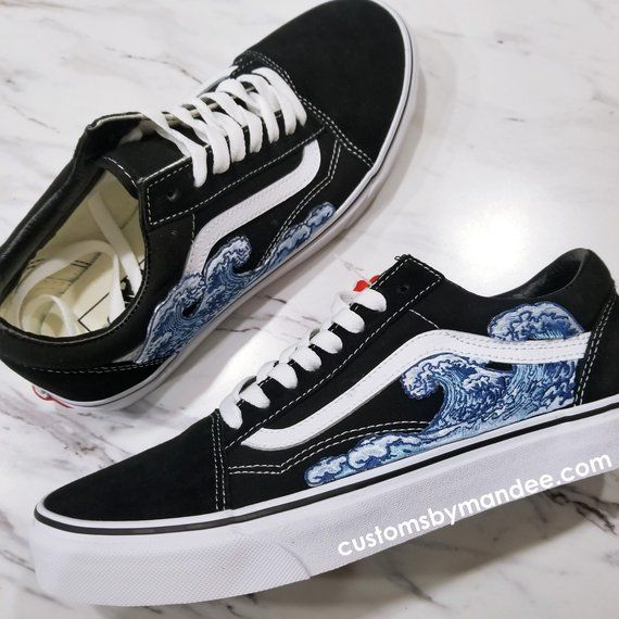Waves Custom Embroidered-Patch Vans Old