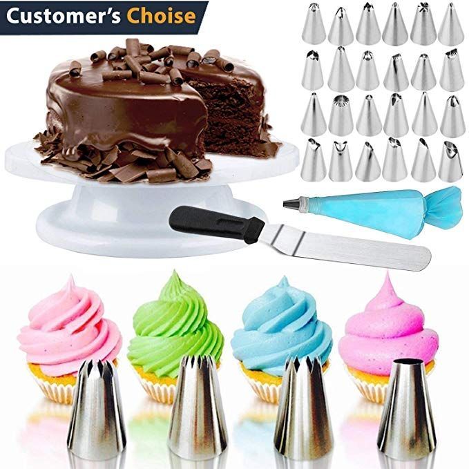 Cake Decorating Turntable Rotating Cake Stand Lifter /& Icing Smoother Spatula