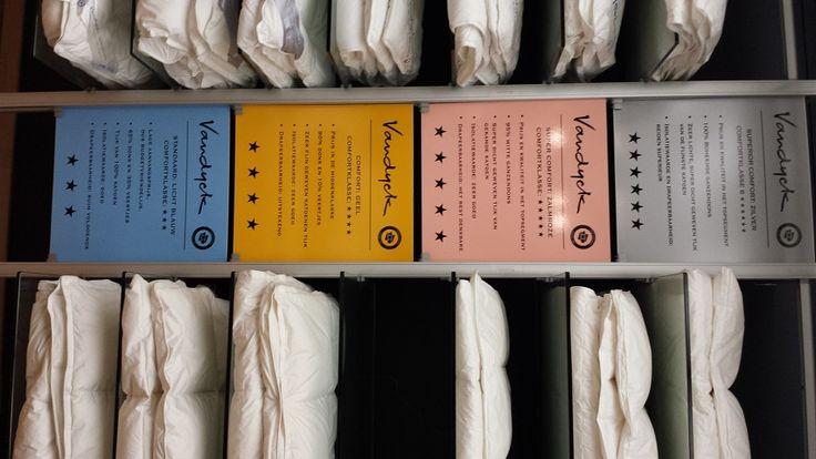 Van Dyck dekbedden met comfortklasse superior comfort zilver 100 procent witte boheemse, 95 ganzendons super comfort zalmrose, geel  90 dons, licht blauw 65 budget. dons kwaliteiten