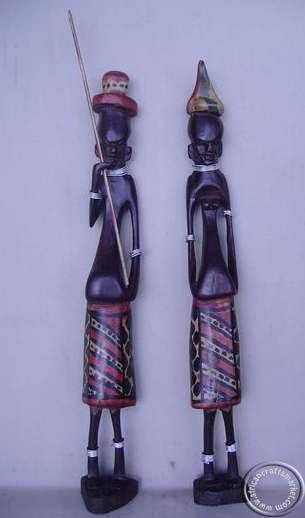 African wooden Masai couple from Kenya