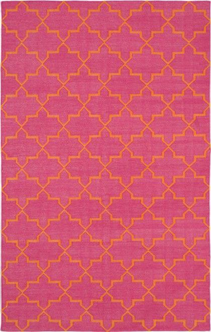 Madeline Weinrib pink and orange brooke rug, flatweave cotton, via Andrew Martin
